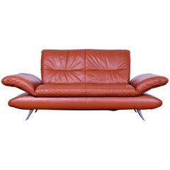 Koinor Rossini Designer Two-Seat Sofa Orange Red Leather Function Modern Two