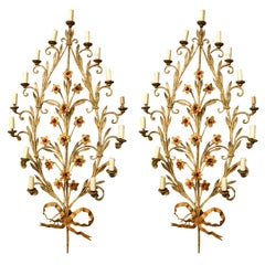 Pair of Italian Fifteen-Light Wall Sconces with Lovely Flowers and Leaves