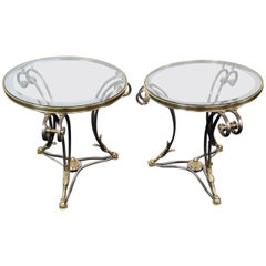 Pair Round Brass & Steel Jansen Style Glass Top Gueridons Occasional End Tables