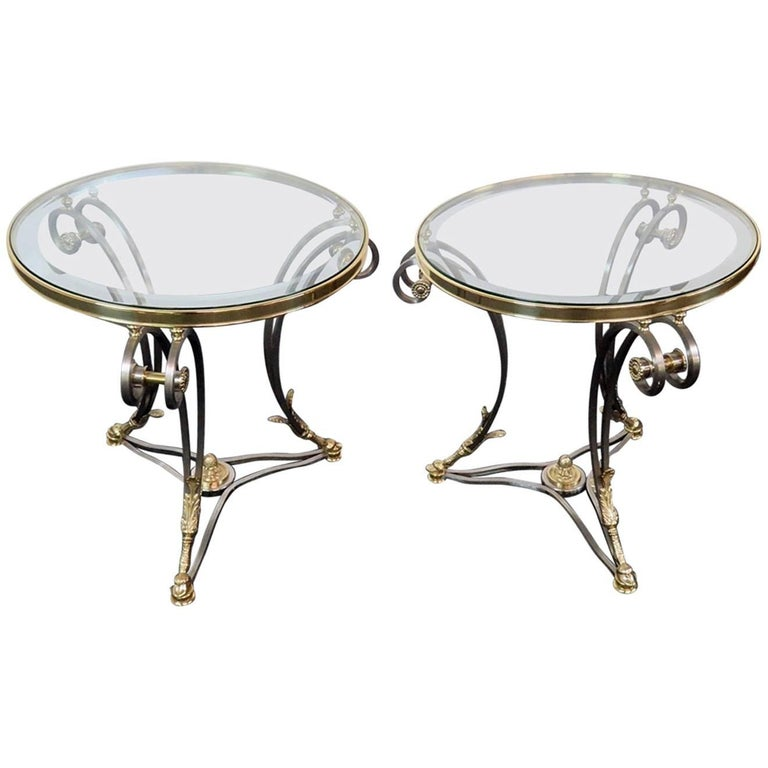 Pair Round Brass & Steel Jansen Style Glass Top Gueridons Occasional End Tables  For Sale