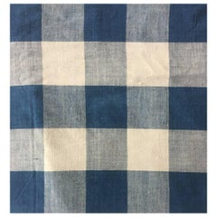 Antique Textile, Mid-19th Century French Homespun Large-Scale Blue Check #9