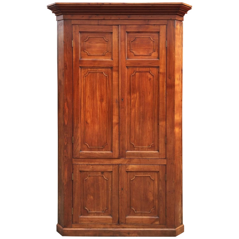 Large Two-Tiered Corner Cabinet or Cupboard of Cherry with Paneled Doors