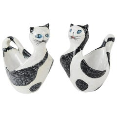 Pair of Italian Ceramic Cat Candy Bowls