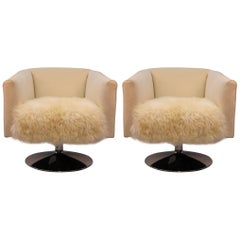 Milo Baughman Swivel Chairs in Soft White