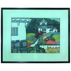 "Okiie Hashimoto Japanese Woodblock Print ""Nishikori Castle"""