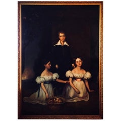 Huge Full Length Portrait of the Chandos-Pole Family of Radbourne Hall, England