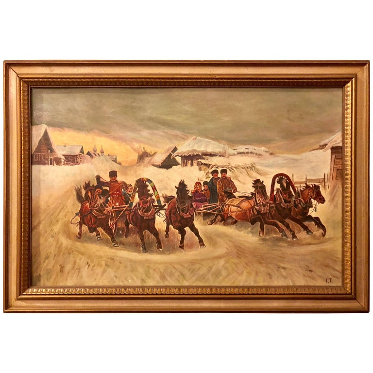 Oil on Canvas of a Russian Racing Scene in the Snow by Ivan Tschernikow