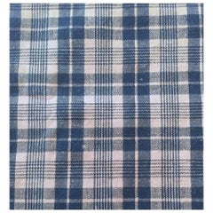 Antique 19th Century French Indigo Dyed Alsatian Blue Check Linen Textile #10