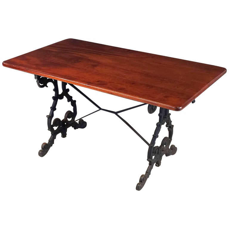 English Bistro or Pub Table of Cast Iron with Wooden Top For Sale
