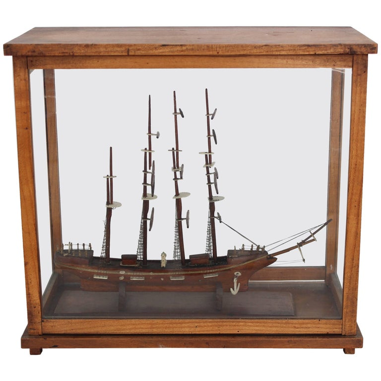 ship model in glass case for sale at 1stdibs. Black Bedroom Furniture Sets. Home Design Ideas