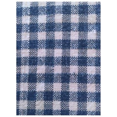 Antique Textile, 19th Century French Home Spun Handwoven Linen Small Check #11