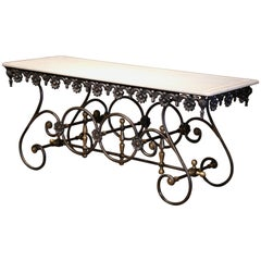 French Polished Iron Butcher Pastry Table with Marble Top and Brass Finials