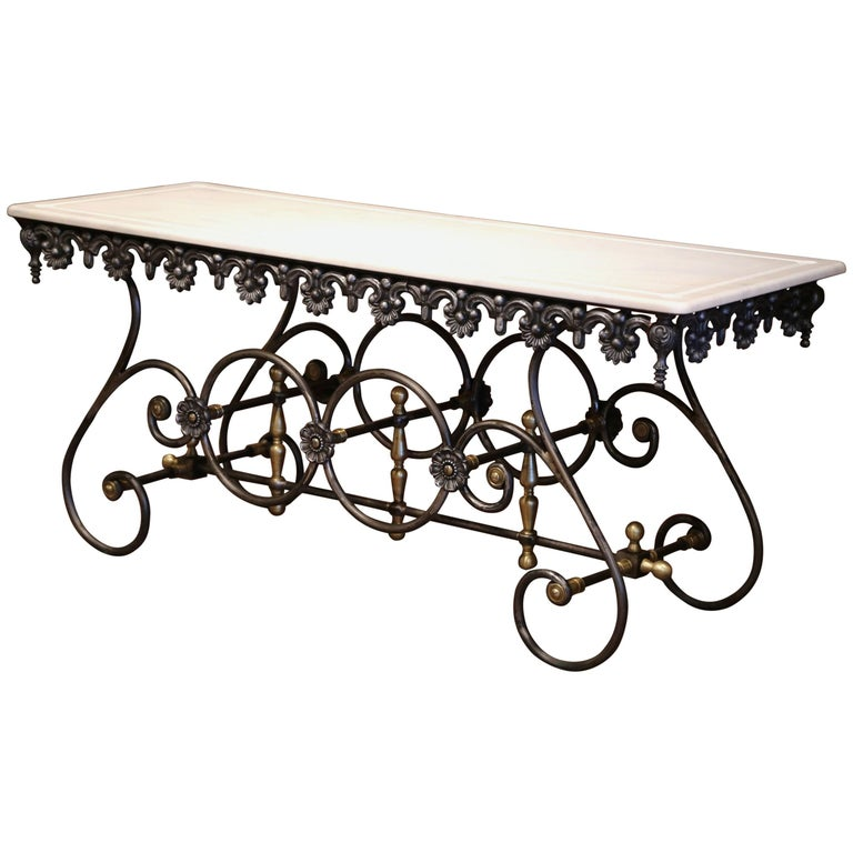 French Polished Iron Butcher Pastry Table with Marble Top and Brass Finials For Sale