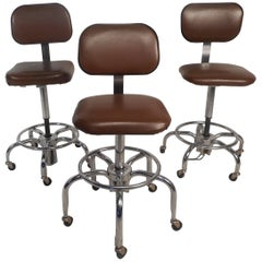 Set of Three Mid-Century Modern Bar Stools by American Electronic Labs