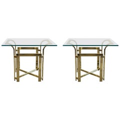 DIA X-Base Pair of Brass End or Bedside Tables with Fluted Waterfall Top