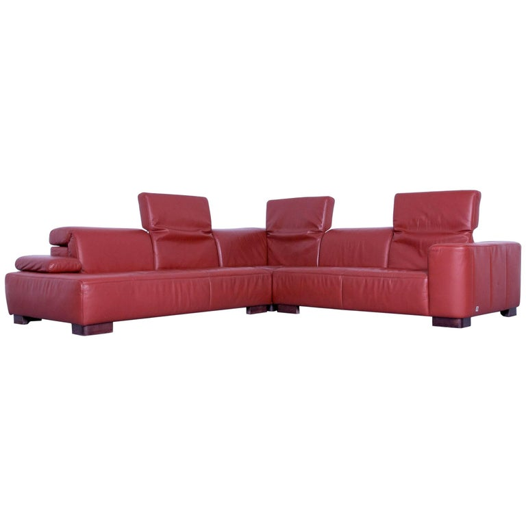 Ewald Schillig Designer Corner Sofa Orange Red Leather Function Modern Wood For Sale At 1stdibs