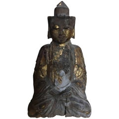 Chinese Gold Leaf Wooden Buddha