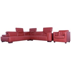 Ewald Schillig Designer Corner Sofa and Armchair Orange Red Leather Function