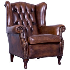 Chesterfield Armchair Brown Cocker Leather Buttoned Vintage Retro Wood Handmade
