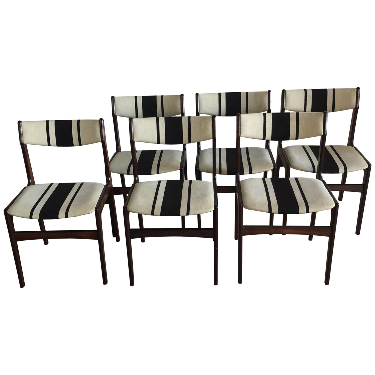 Danish Rosewood Midcentury Dining Chairs Striped Erik Buch Style