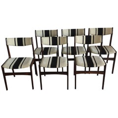 Danish Rosewood Midcentury Dining Chairs, Striped, Erik Buch Style, Set of Six