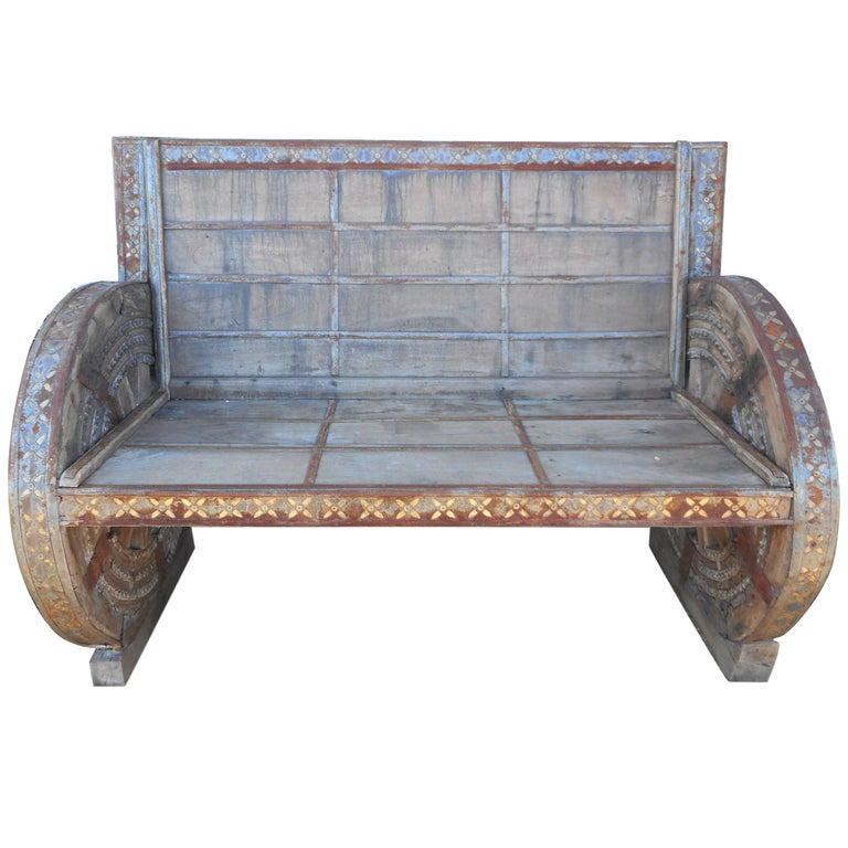 Impressive Vintage Metal and Wood Rustic Bench For Sale
