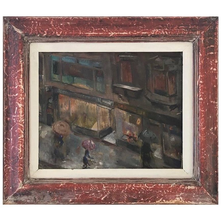 Oil Painting with Painted Red Frame of Rainy City Streets, circa 1950