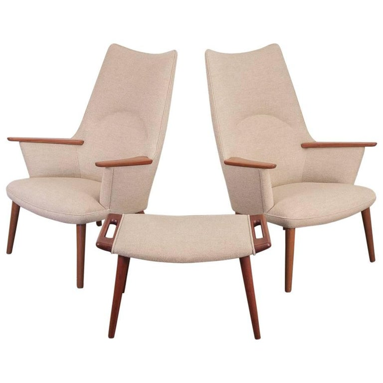 Pair of Hans J. Wegner AP-27 High Back Lounge Chairs for A.P. Stolen