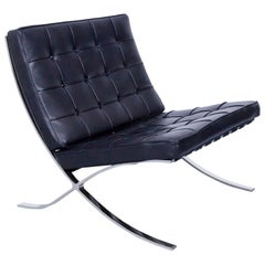 Knoll International Barcelona Chair by Ludwig Mies van der Rohe Black Leather