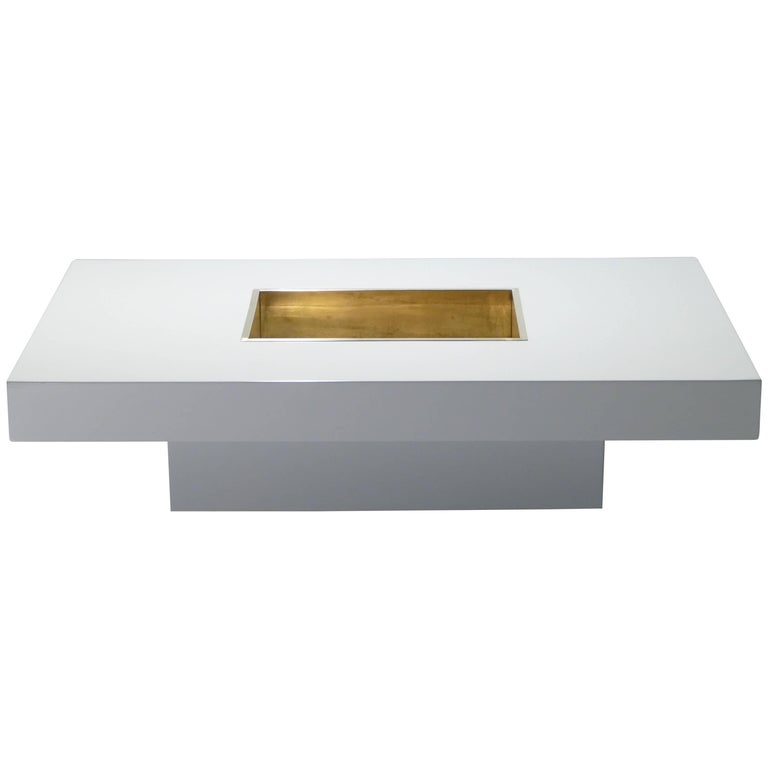 Willy Rizzo White Lacquer Coffee Table, 1970s
