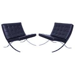 Two Knoll International Barcelona Chair Ludwig Mies van der Rohe Black Leather