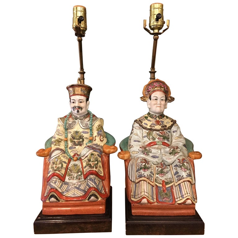 Polychrome Chinese Porcelain Seated Figures of a Man and Woman as Lamps