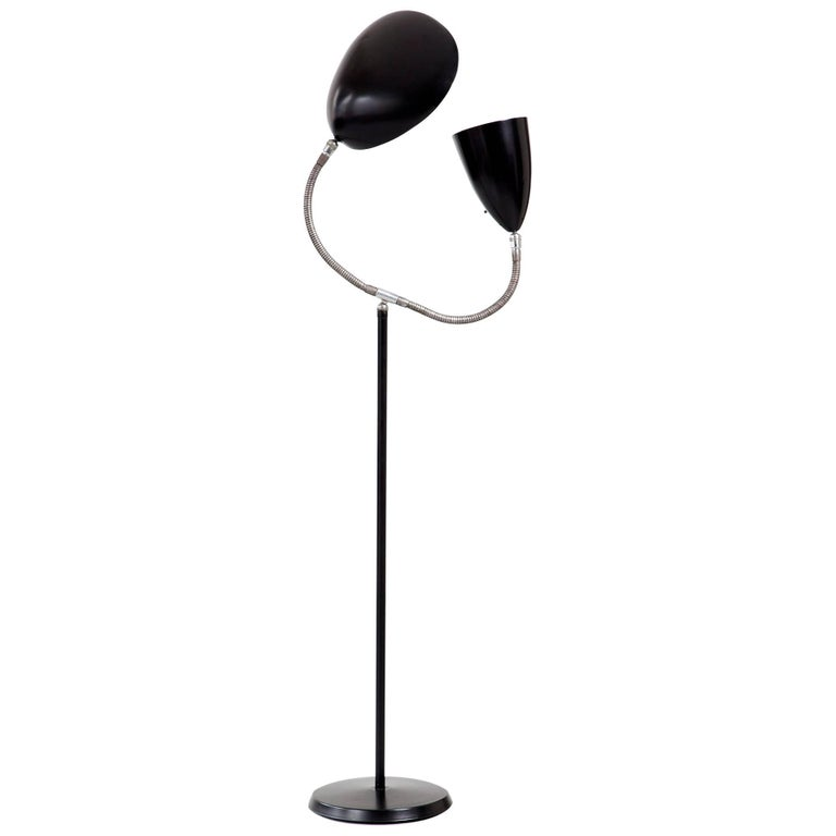 """Floor Lamp with One Cone Shade and One """"Cobra"""" Shade"""