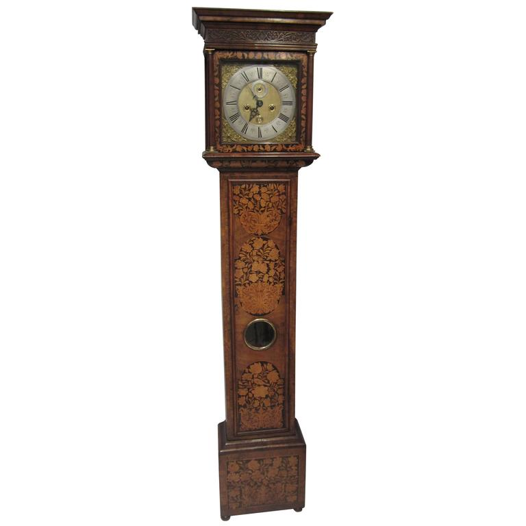 17th Century Walnut and Marquetry Longcase Clock For Sale