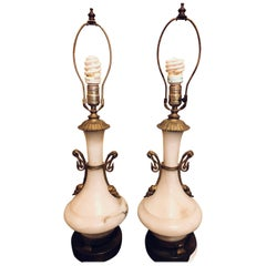 Pair of Alabaster Lamps Figural Bronze Mounted Table Lamps