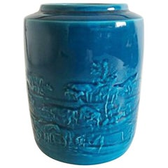 Bing & Grondahl Vase with Blue Glace by Mogens Bøggild