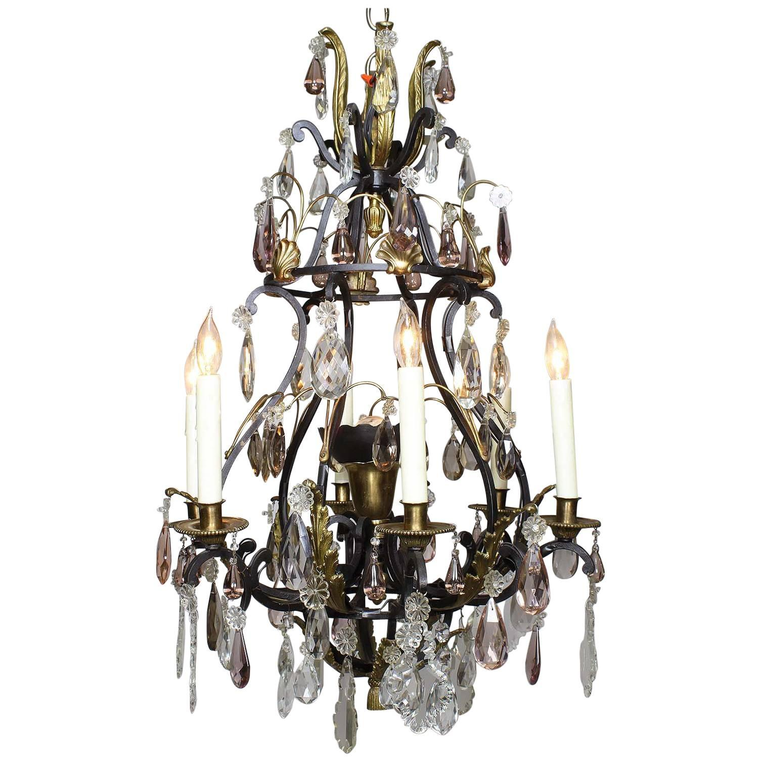 French 19th-20th Century Louis XV Style Wrought Iron & Bronze Crystal Chandelier