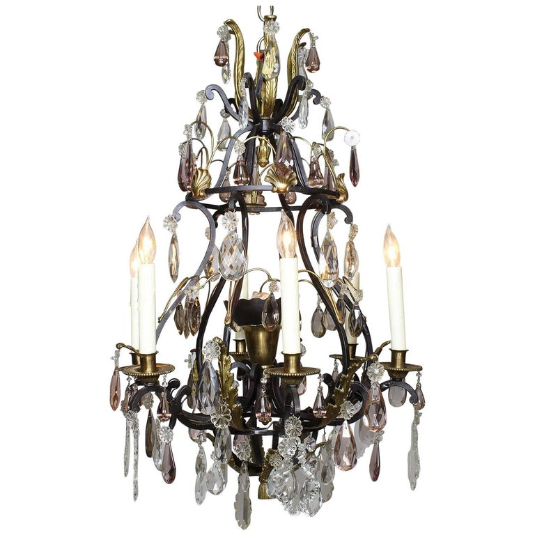 French 19th-20th Century Louis XV Style Wrought Iron & Bronze Crystal Chandelier For Sale