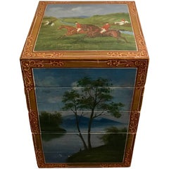 European Folk Art Hand-Painted Equestrian Theme Stacking Horse Tack Box