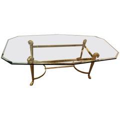 Manner of Jansen Octagon Glass Coffee Table Heavy Brass Ram Head