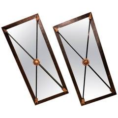Pair of Industrial Metal Framed Mirrors