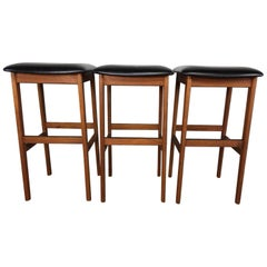 Danish Trio Set of Walnut and Leather Bar Stools