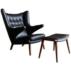 Dark Cognac Leather Papa Bear Chair and Ottoman by Hans J. Wegner
