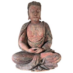 China Lovely Hand-Carved Solemn Buddha Ming Dynasty, 1368-1644
