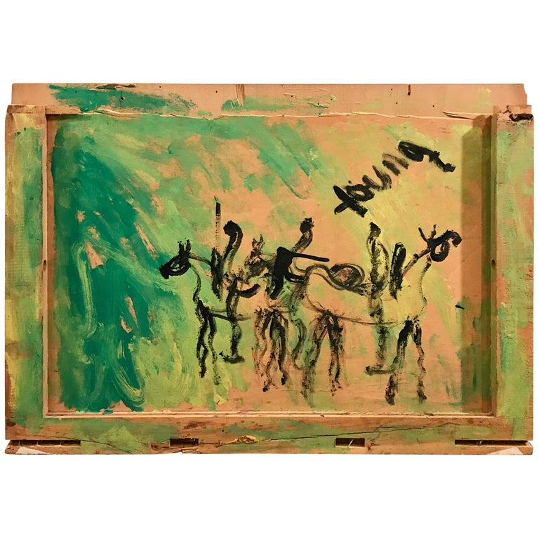 Horse and Rider Abstract Painting on Found Crate by Purvis Young