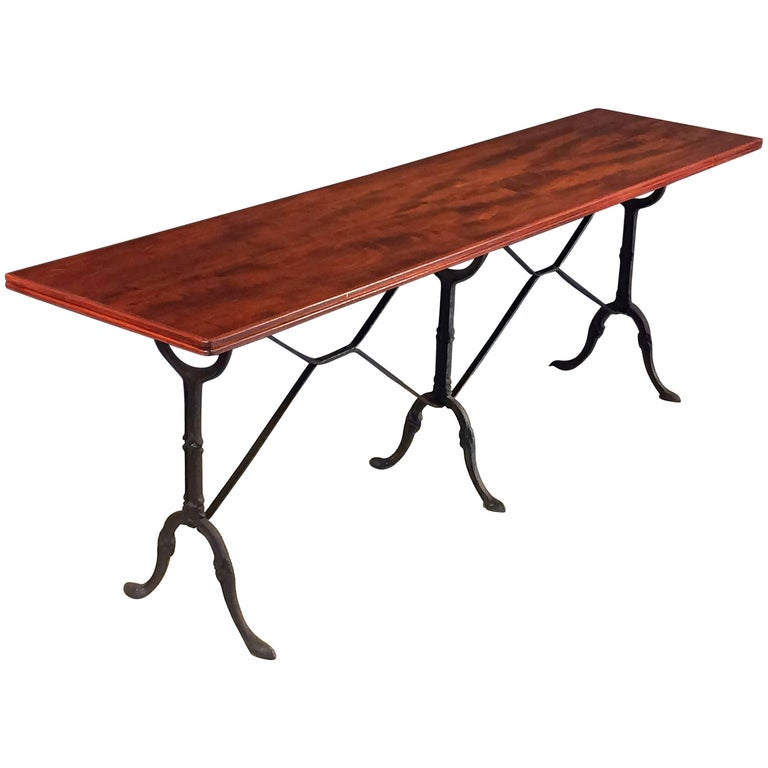 English Bistro or Console Table of Cast Iron with Wooden Top