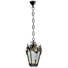 French Art Nouveau Bronze Cut-Glass Lantern, circa 1910