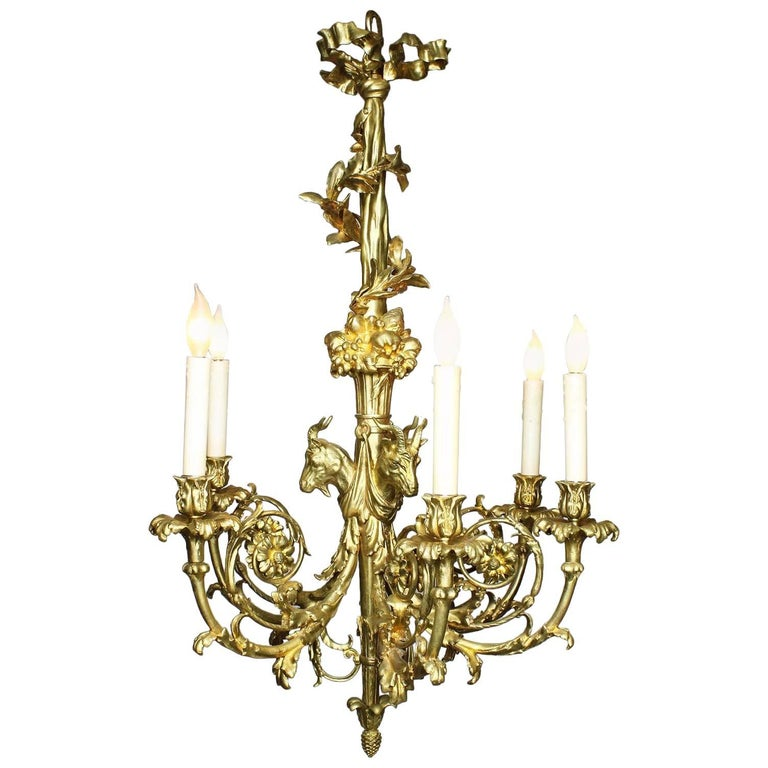 French 19th Century Louis XV Style Gilt Bronze Chandelier after Pierre Gouthiere