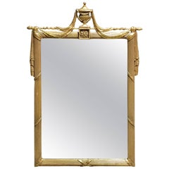 Giltwood Neoclassical Draped Mirror
