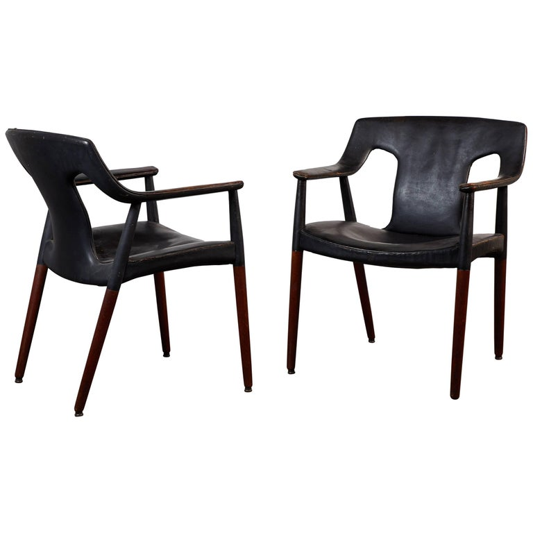 Pair of Leather Armchairs by Aksel Bender Madsen and Ejner Larsen